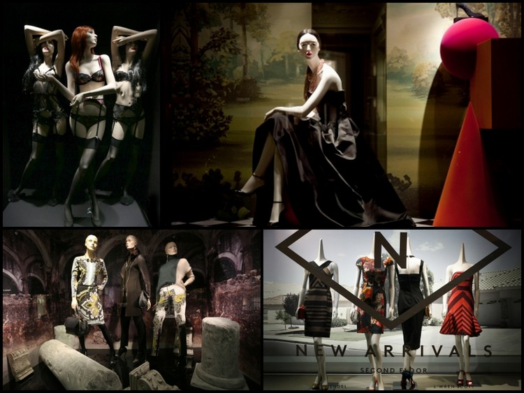 Image courtesy of windowswear.com. Window displays clockwise, Agent Provocateur, Barcelona, Dior, Paris,Etro, Milan, Barney, NYC