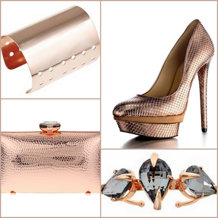 Clockwise images are represented by Sugar Scout rose gold cuff, Brian Atwood rose gold shoe, Lariucci rose gold ring, and Fallon rose gold evening purse