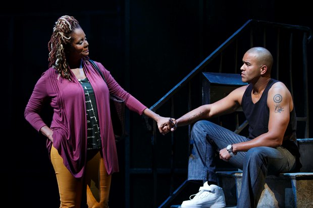 "Tonya Pinkins and Christopher Jackson in ""Holler. Image courtesy of Joan Marcus"