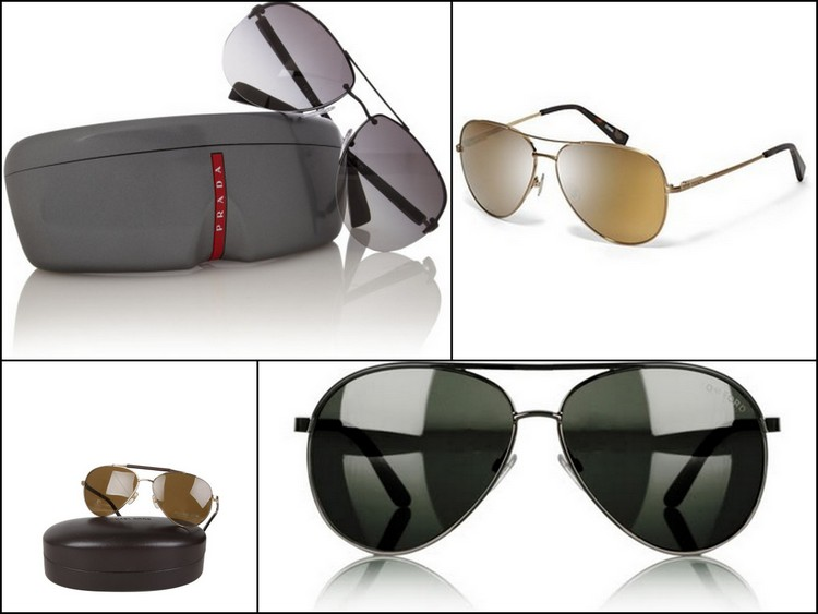 Men's summer shades images clockwise Prada Linea Rossa Aviator, Fossil Jordan Polarized Aviator, Michael Kors Gold Colton Aviator, and Tom Ford Black Brow Bar Aviator