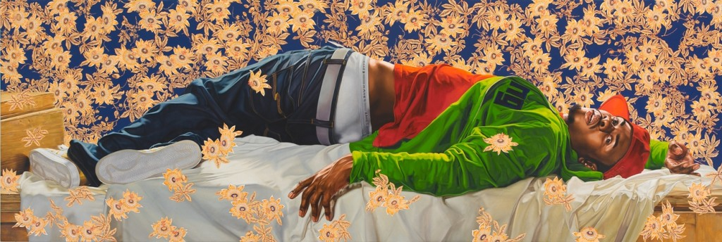Femme piquee par un serpent, 2008 oil on canvas 102 x 300 inches ©Kehinde Wiley, Courtesy Sean Kelly, New York
