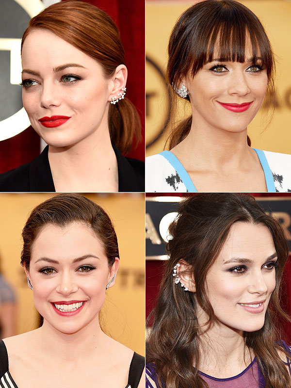 Images clockwise of Emma Stone, Rashida Jones, Tatiana Maslany and Keira Knightly courtesy of peopleswatchstyle.com
