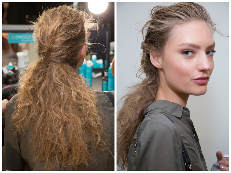 Zac Posen spring 2017 backstage images courtesy of Moroccanoil
