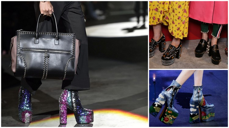 Dsquared2 spring 2017, Gucci spring 2017, and Marc Jacob spring 2017 images, respectively courtesy of footwearnews.com/Getty Images