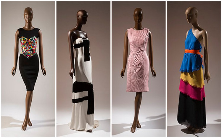 Images of Patrick Kelly, Eric Gaskins, Mimi Plange, and Stephens Burrows garments, respectively courtesy of fitnyc.edu