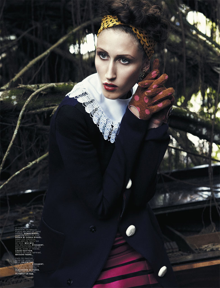 Image of Anna Cleveland in Jalouse magazine, photographed by Bjarne Jonasson