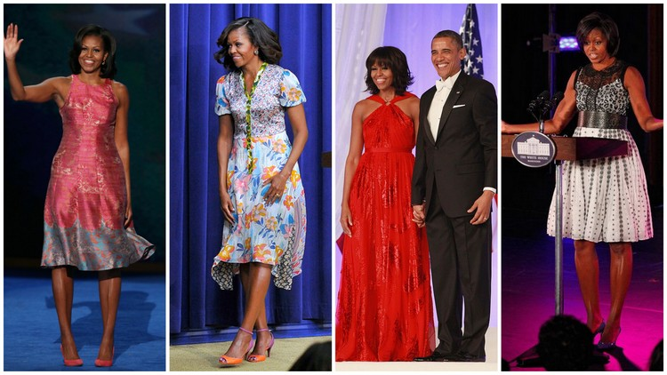 Michelle Obama in Tracy Reese, Duro Olowu, Jason Wu, and Byron Lars Beauty Mark, respectively.