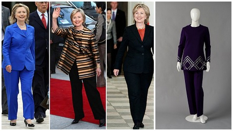 Images of Hillary Clinton courtesy of thedailybeast.com. Lasell College image of Leo Nabucci black pantsuit in the style of Hillary Clinton courtesy of Davis Parnes