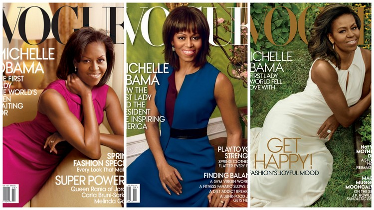 Michelle Obama's Vogue Covers. Images courtesy of vogue.com