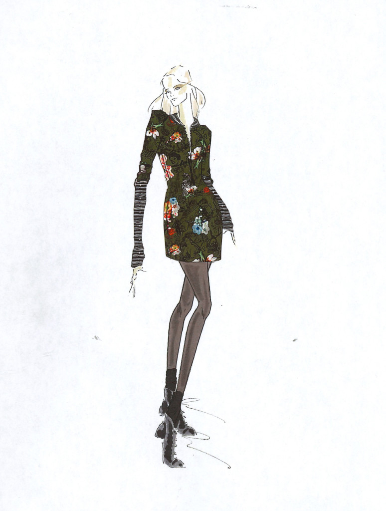 Nicole Miller fall 2017 sketch courtesy of Think PR