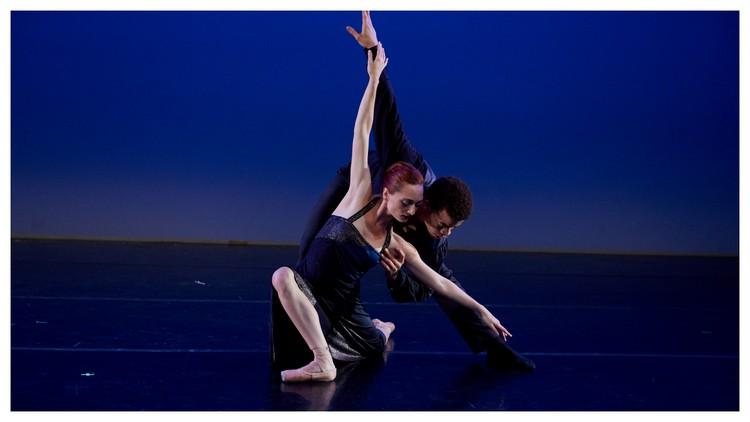 "Amanda Treiber and Steven Melendez in NYTB's pas de deux from ""Such Loving"""