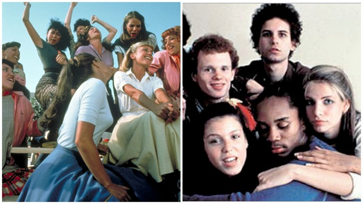 """Antonia Franceschi in """"Grease"""" and Franceschi with """"Fame"""" cast"""