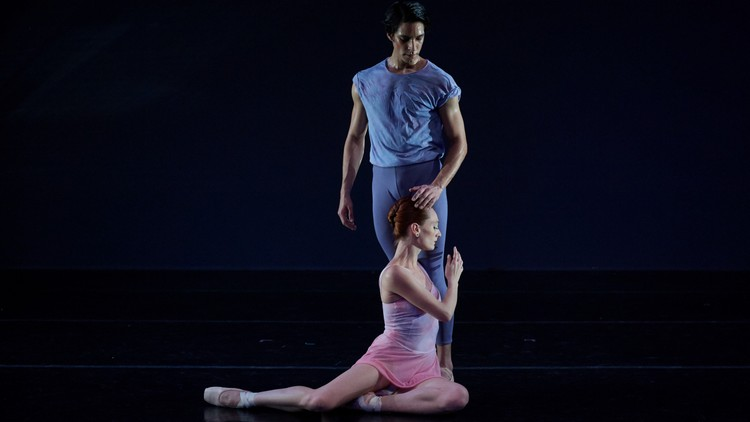 """Amanda Treiber and Joshua Andino-Nieto in NYTB's """"She Holds Out Her Hand."""" All images courtesy of Rachel Neville/Michelle Tabnick Communications"""
