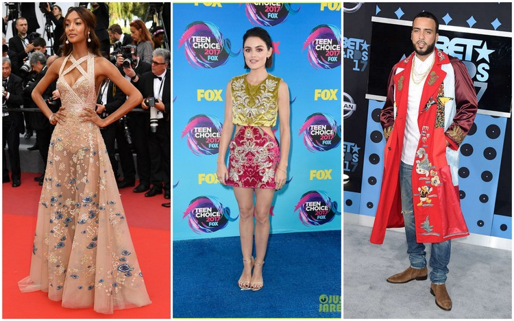 Images of Jourdan Dunn, Lucy Hale, and French Montana courtesy of sandfashionblog, justjared.com, and eonline, respectively