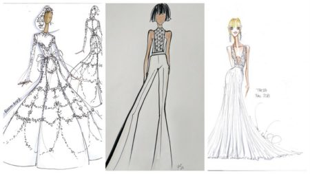 2018 celebrity fashion sketches of dresses