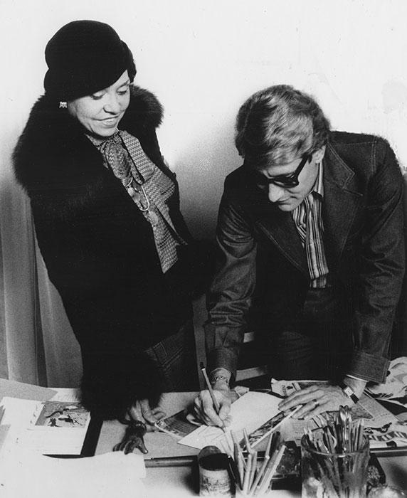 Eunice Johnson with designer Yves Saint Laurent, 1972. Photo courtesy of Johnson Publishing Company, LLC and Chicago History Museum.