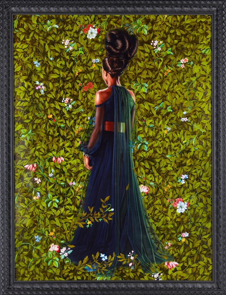 Princess Victoire of Saxe-Coburg-Gotha, 2012 oil on linen framed: 106 3/8 x 82 inches ©Kehinde Wiley, Courtesy Sean Kelly, New York Photo by Jason Wyche